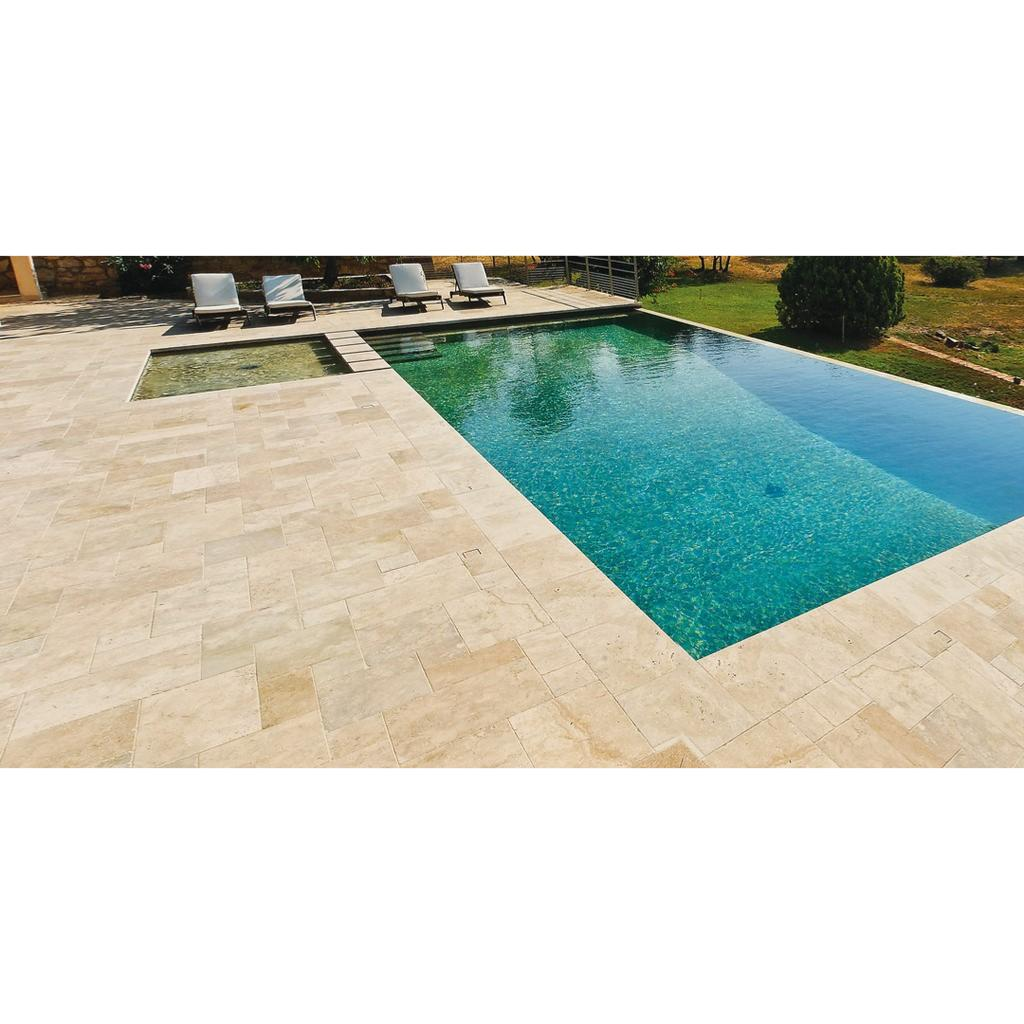 Nez De Marche Pour Piscine margelle piscine travertin light mixte & angle